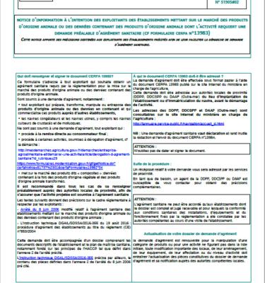 A2.1 Notice Demande d'agrément sanitaire CERFA_13983-03 P1